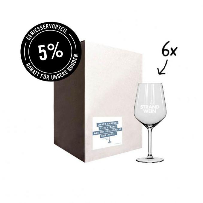 6 x Strandwein Glas